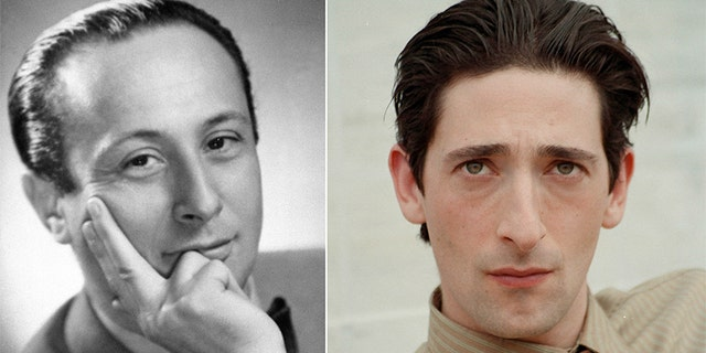 A portrait of actor Adrien Brody, right, is set opposite a portrait of Polish author and pianist Wladyslaw Szpilman. Brody portrays Szpilman in