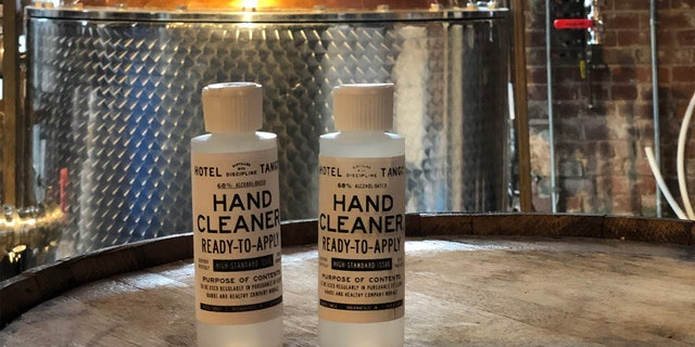 The artisan distillery, the first to open in Indianapolis since Prohibition, has produced over 2,000 gallons since mid-March, when the first run of sanitizer was bottled. (Hotel Tango Distillery)