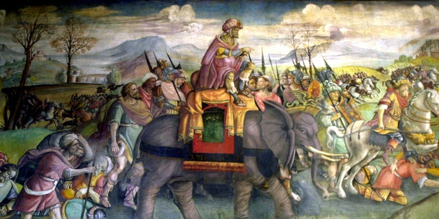 Detail of the murals in the Han Hannibal riding an elephant, Italy, Rome, the National Theatre Museum.