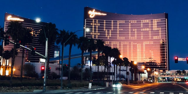 """The Wynn casino displays the message """"Vegas Strong."""""""