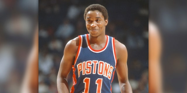 Isiah Thomas #11 of the Detroit Pistons during an NBA basketball game in 1982 at The Capital Centre in Landover, Maryland. Thomas played for the Pistons from 1981-94. (Photo by Focus on Sport/Getty Images)