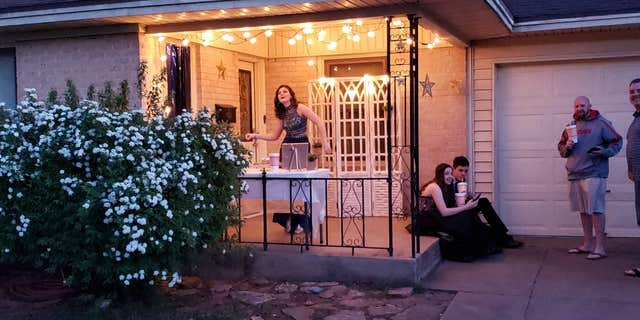 The family spruced up the outdoor space with household décor, stars and festive lights.