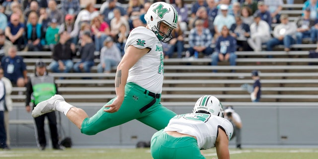 Justin Rohrwasser #16 of the Marshall Thundering Herd kicks a field goal in the first half against the Rice Owls on November 2, 2019 in Houston, Texas. (Photo by Tim Warner/Getty Images)