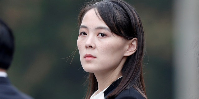 FILE PHOTO: Kim Yo Jong, sister of North Korea's leader Kim Jong Un attends a wreath-laying ceremony at Ho Chi Minh Mausoleum in Hanoi, Vietnam March 2, 2019. REUTERS/Jorge Silva/Pool/File Photo - RC229G9EVOG4