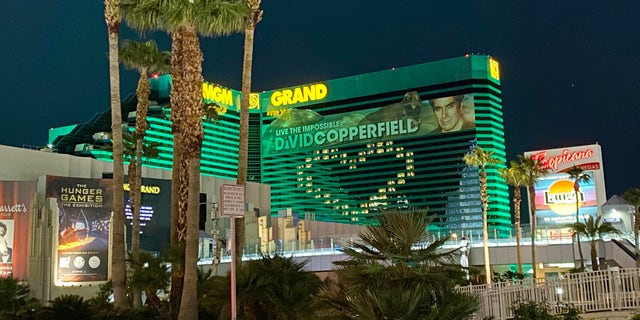 MGM along with other casinos on the Strip display messages of hope by lighting empty hotel rooms.