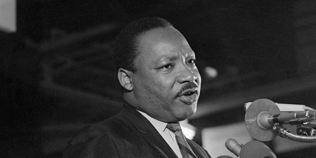 "Caught in a somber mood, Dr. Martin Luther King addresses some 2,000 people on the eve of his death, giving the speech ""I've been to the mountaintop."" The former founder and Chairman of the Southern Christian Leadership Conference was slain by an unknown assailant on April 4, 1968."