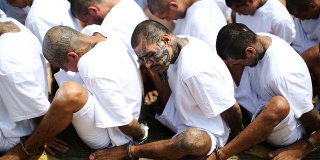 Mara Salvatrucha (MS-13) gang members wait to be escorted upon their arrival at the maximum-security jail in Zacatecoluca, El Salvador, June 22, 2017. (Reuters)