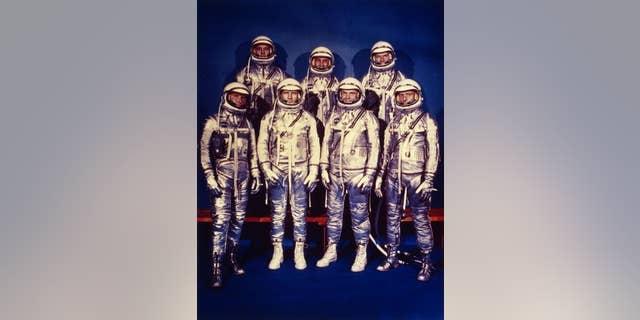 1959: The seven astronauts of NASA's Mercury programme: Walter M Schirra, Deke Slayton, John Glenn Jnr, M Scott Carpenter, Alan B Shepard Jnr, Virgil I Grissom and Leroy Gordon Cooper Jnr. (Photo by MPI/Getty Images)