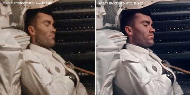 Before-and-after images of napping astronaut Fred Haise.