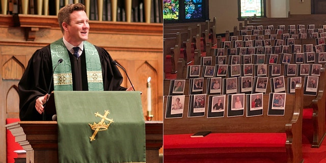 Daniel Irving, pastor of First United Methodist Church in Huntsville, Texas, taped pictures of his members to the pews as his congregation is forced to stay home amid the coronavirus pandemic.