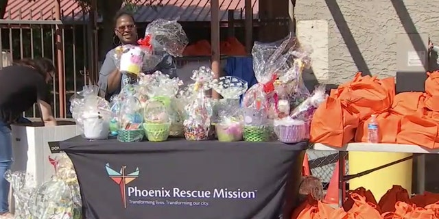 Phoenix Rescue Mission handed out hundreds of Easter baskets to families in need at a drive-thru coronavirus event Saturday.