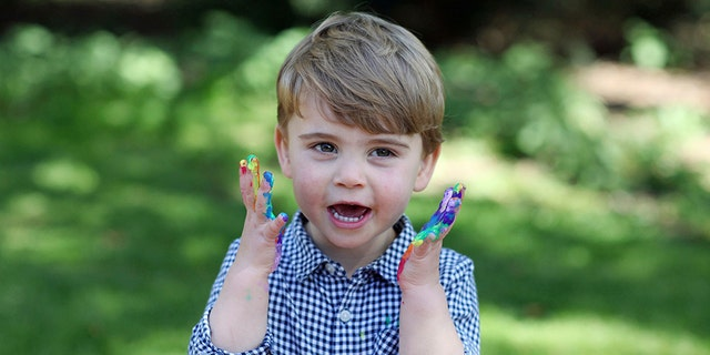 In this undated photo released Wednesday April 22, 2020, by Kensington Palace, showing Britain's Prince Louis, who celebrates his second birthday Thursday, April 23, 2020, in this photo taken by his mother, Kate the Duchess of Cambridge.