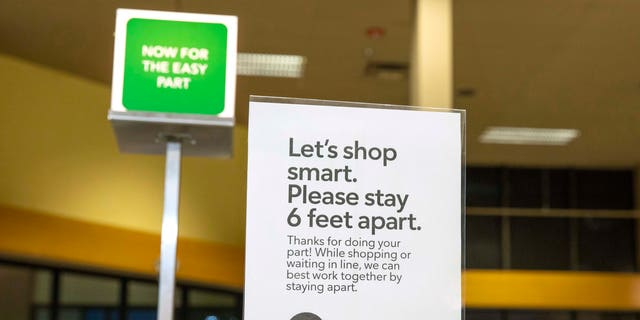 Publix installed social distancing markers around the store to advise shoppers to stay 6 feet apart.