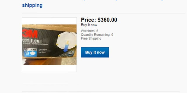 The Ohio Attorney General's Office released this image of Donkey476's eBay account, showing a 10-pack of N95 masks on sale for $360. The price was $2.05 each before the coronavirus crisis, officials said.<br><br>