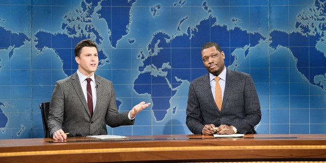 'Saturday Night Live' hosts Colin Jost and Michael Che returned for the Season 46 premiere on the 'Weekend Update' desk.