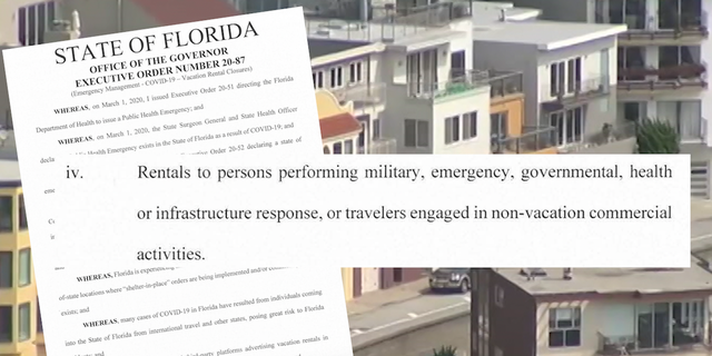 Florida's executive order against short term rental bans.