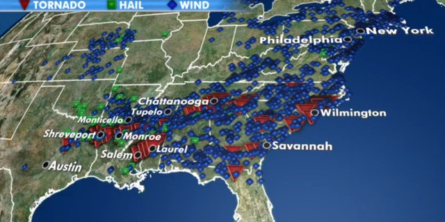 Storm reports in a two day period after a spate of severe weather across the South.