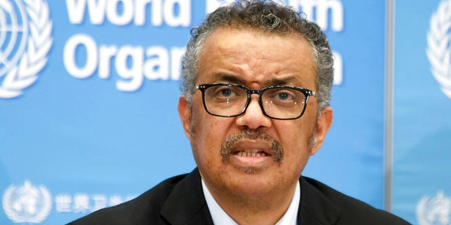 Tedros Adhanom Ghebreyesus, Director-General of the World Health Organization (WHO), addresses a press conference about the update on COVID-19 at the World Health Organization headquarters in Geneva, Switzerland.