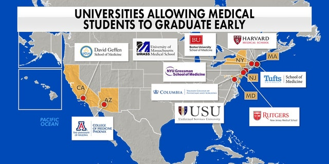 Universities across the country have been allowing fourth-year medical students to apply for early graduation to help combat the spread of COVID-19. (Fox News)