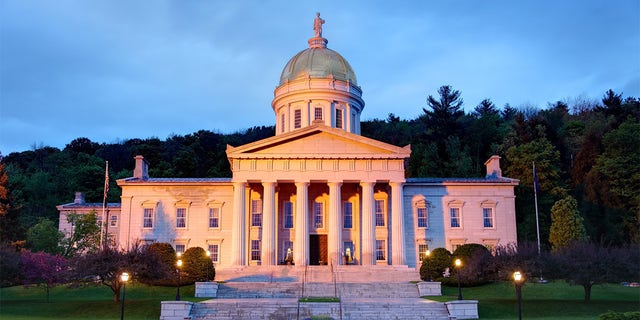 The Vermont Statehouse, located in Montpelier, at dusk. Montpelier has the distinction of being the smallest state capital in the United States.