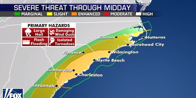 The threat of severe weather shifted to coastal areas on Monday.