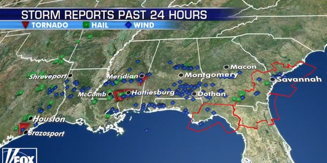 Storm reports from severe weather on Sunday.