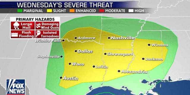 The next threat for severe weather on Wednesday.