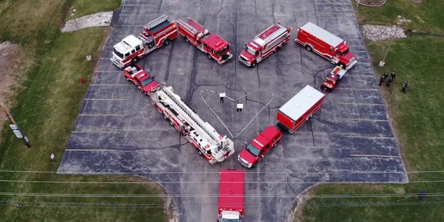 A tribute for health-care workers by firefighters in Wisconsin on Saturday.