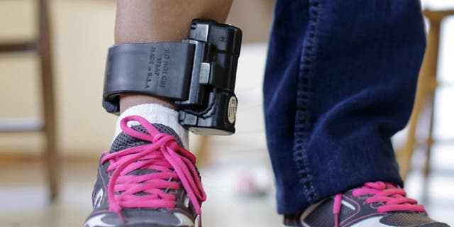 A suspect wears an ankle monitor in San Antonio, Texas, July 27, 2015. (Associated Press)
