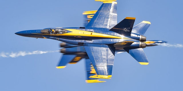 The Navy's Blue Angels (pictured) and the Air Force's Thunderbirds are known for their close-flying, high-speed aerial acrobatics. (US Navy)