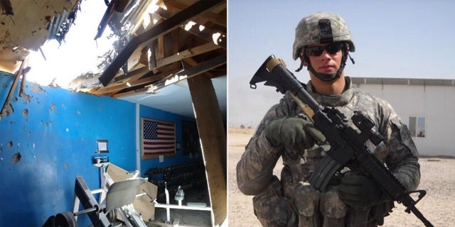 Photos of the aftermath of the rocket attack on the gym in Afghanistan and Colin Wayne serving in the Army.