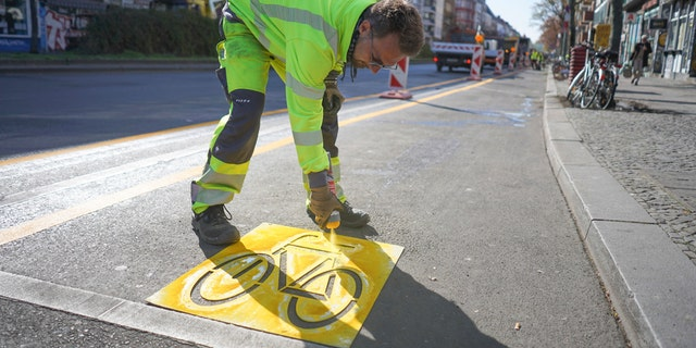 The establishment of bicycle lanes in Berlin was accelerated in order to give citizens an incentive to switch to cycling amid the coronavirus. (Joerg Carstensen/dpa via AP)