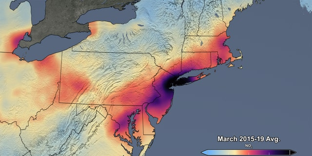 This image released by NASA shows the average concentration of atmospheric nitrogen dioxide in March of 2015-19. (NASA/NASA's Scientific Visualization Studio)