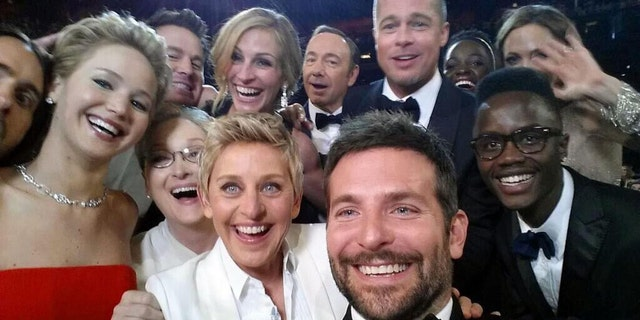 Jared Leto, Jennifer Lawrence, Meryl Streep, Ellen DeGeneres, Bradley Cooper, Peter Nyongo Jr., Channing Tatum, Julia Roberts, Kevin Spacey, Brad Pitt, Lupita Nyongo and Angelina Jolie appear in this selfie taken during the 2014 Oscars.