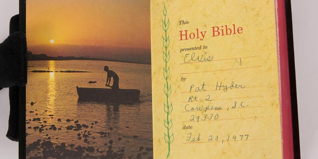 This Bible was gifted to Elvis Presley in 1977 by a fan.