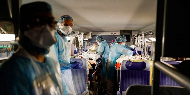 France is evacuating 36 patients infected with the coronavirus from the Paris region onboard two medicalized high-speed TGV trains.