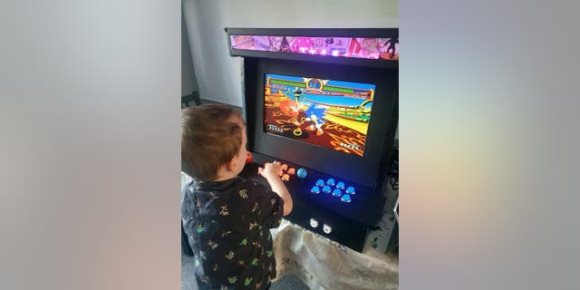 """""""Spyro, Crash Bandicoot and Sonic the Hedgehog he loves, which is one of my childhood heroes, so it's nice to see that my son now enjoys it as well,"""" Addison said. (Credit: SWNS)"""