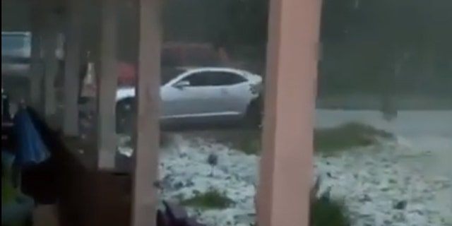 Hail and wind damage in Alexander City, Alabama as severe weather moved through on Sunday.