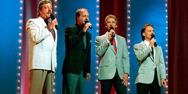 In this June 5, 1989, file photo, The Statler Brothers, from left, Harold Reid, Don Reid, Phil Balsley and Jimmy Fortune, perform at the 23rd annual Music City News Country Awards show in Nashville, Tenn.