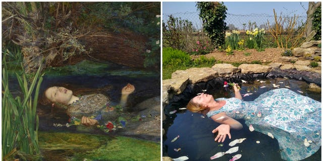 "Samantha Tedd recreates John Everett Millais' ""Ophelia"" at her home in Clipston, Northamptonshire"