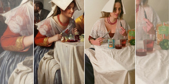 "Elanor Barnett, 27, recreated ""A Roman Osteria"" by Carl Bloch."