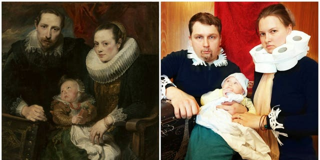 "Julia Panfilova and her family recreated ""Family Portrait"" by Anthony Van Dyck, albeit with toilet paper rolls."