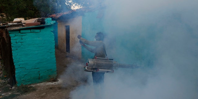A municipal worker fumigates a residential area during a lockdown to prevent the spread of new coronavirus in Prayagraj, India, Saturday, April 4, 2020.