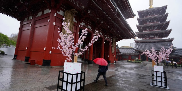 A woman walks in the empty Asakusa district Monday, April 13, 2020, in Tokyo.