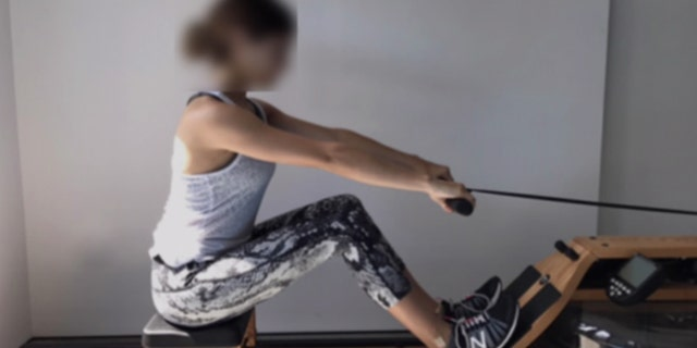 One of Lori Loughlin's daughters appears to use an ERG machine in this photo obtained by Fox News. (U.S. District Court of Massachusetts)