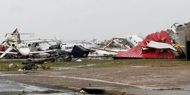 Damage at Monroe Regional Airport in Louisiana after a reported tornado on Sunday.