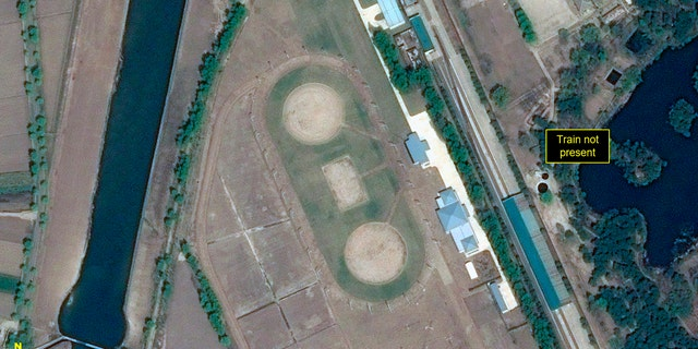 This Wednesday, April 15, 2020, satellite image provided by Airbus Defence & Space and annotated by 38 North, a website specializing in North Korea studies, shows Leadership Railway Station in Wonsan, North Korea.