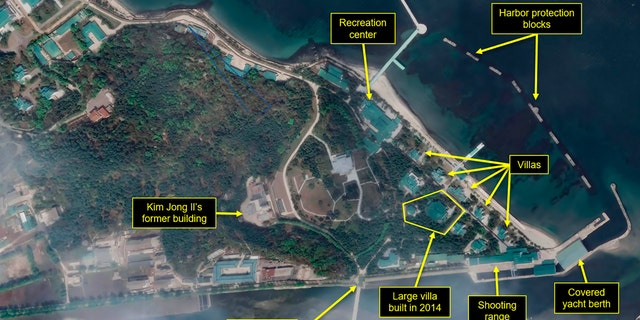 This Tuesday, April 21, 2020, satellite image provided by Maxar Technologies and annotated by 38 North, a website specializing in North Korea studies, shows an overview of the Wonsan complex in Wonsan, North Korea.