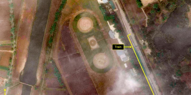 This Tuesday, April 21, 2020, satellite image provided by Maxar Technologies and annotated by 38 North, a website specializing in North Korea studies, shows the Leadership Railway Station in Wonsan, North Korea.