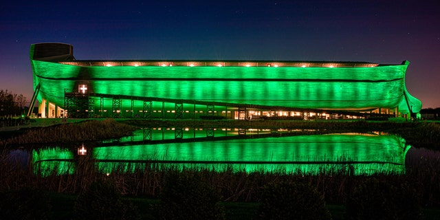 The Ark Encounter was fully lit up green to show support against the coronavirus pandemic.